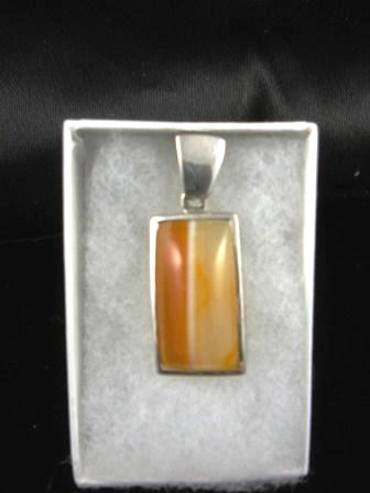09-00105 Striated Agate Sterling Silver Pendant