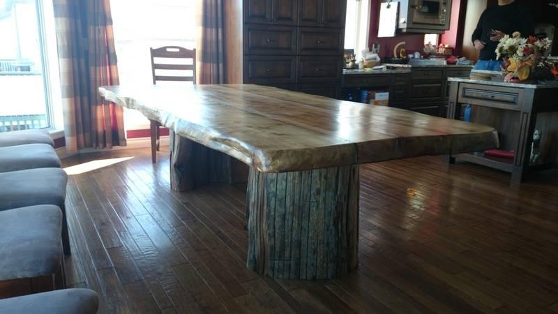 driftwood pedestals on douglas fir table