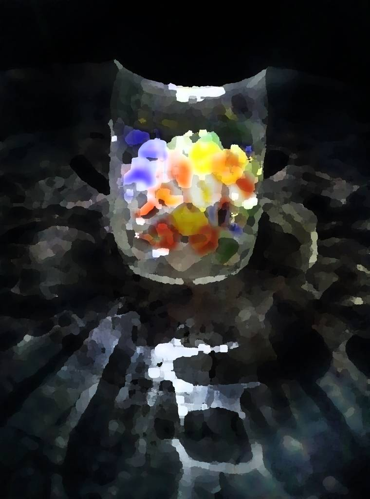 Solar-powered light with old marbles in jar.  Marbles probably Gary's and Mark's, 7/26/14.