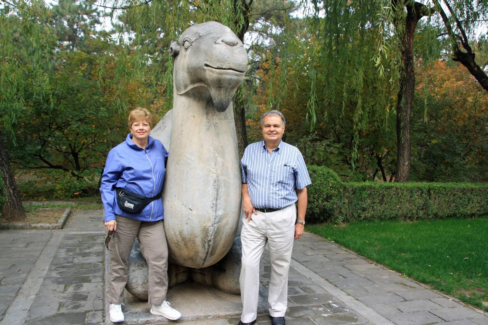 Lynda & Randy at Sacred Way of Ming Tombs in Beijing