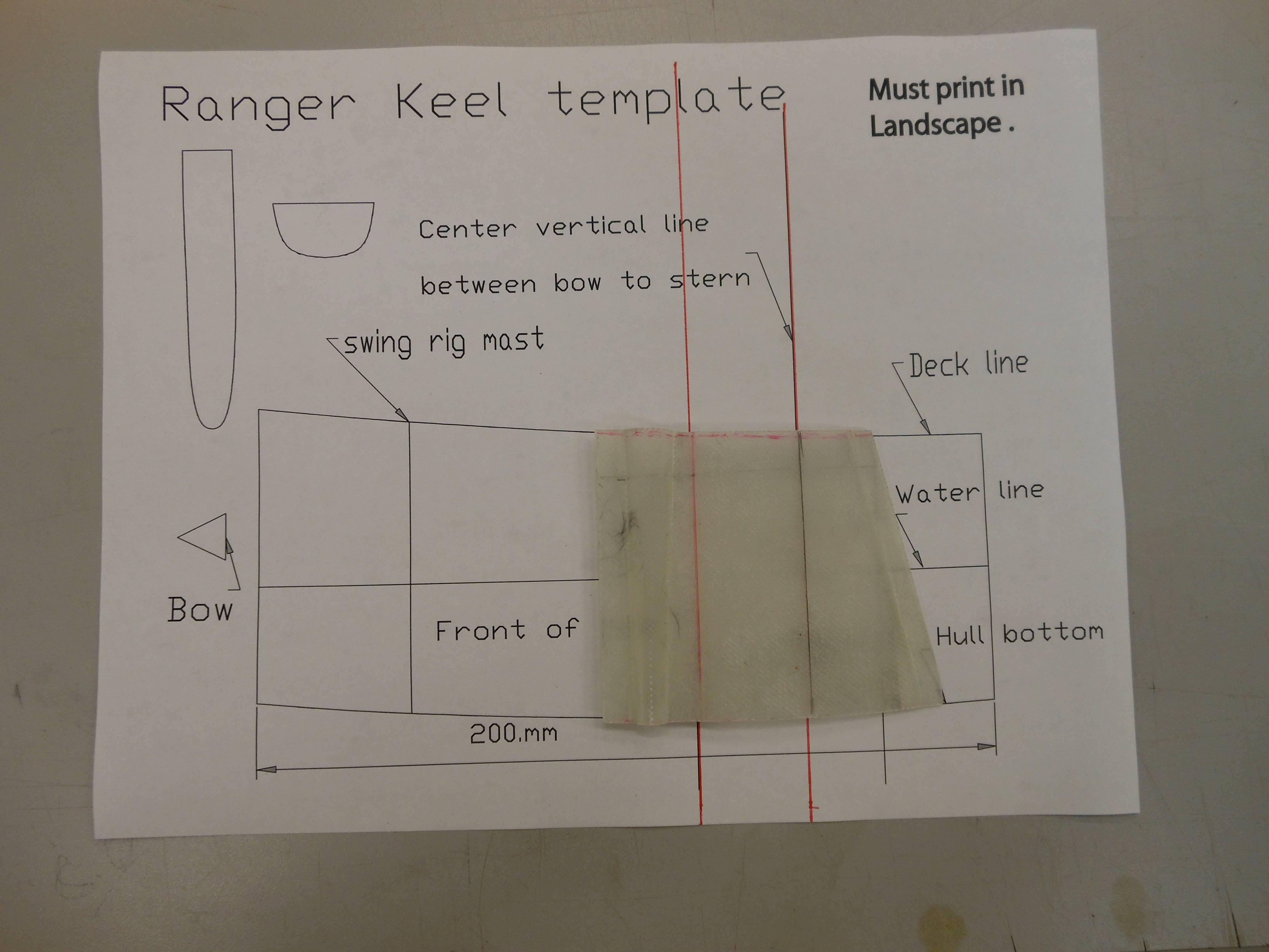 Ranger keel cut to template