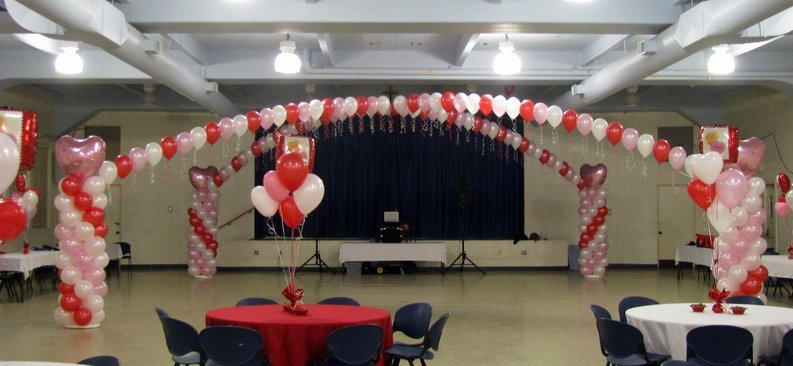 Balloon Columns w/string of Pearls - Valentine's Theme