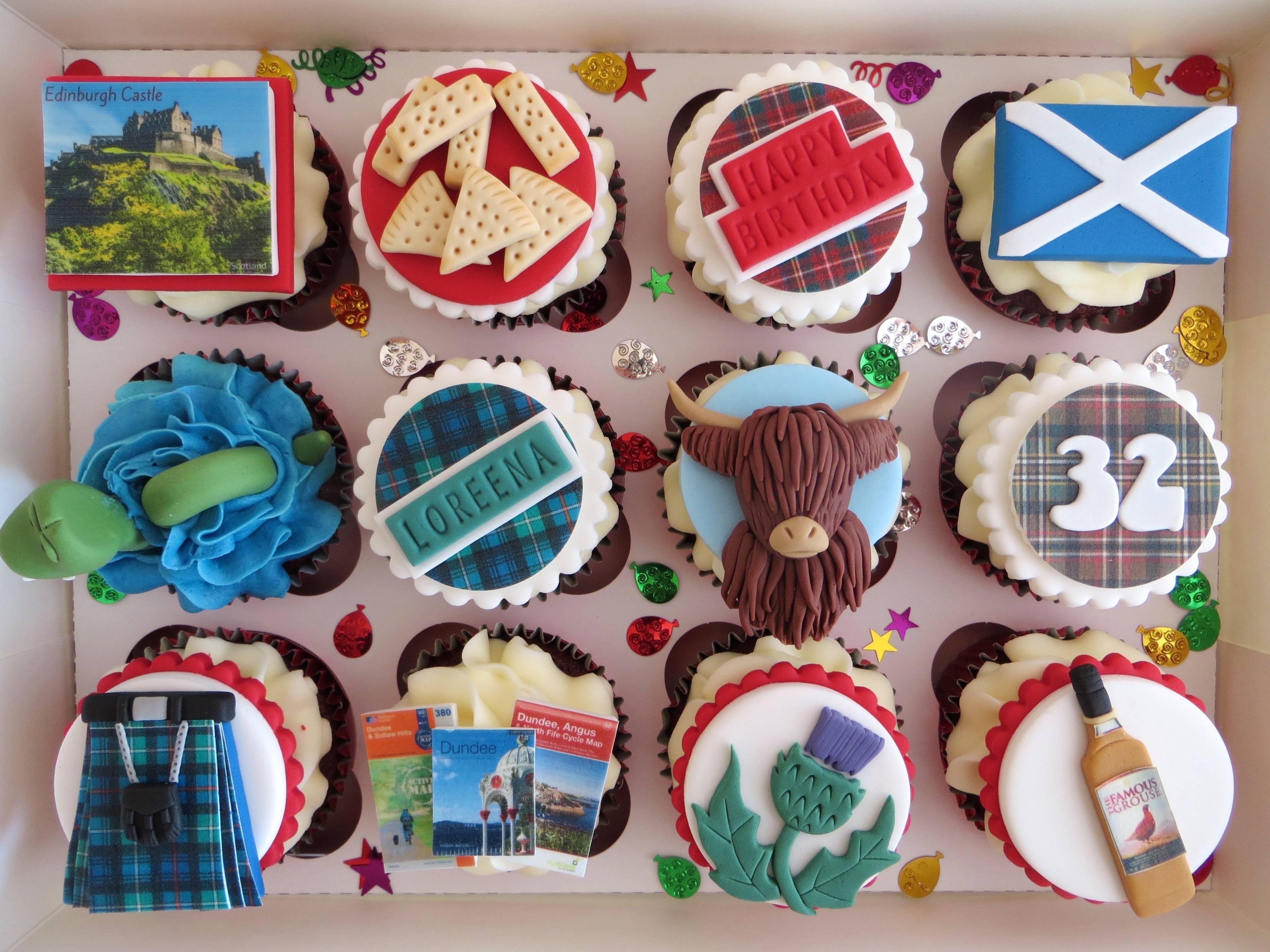 Scotland themed birthday cupcakes