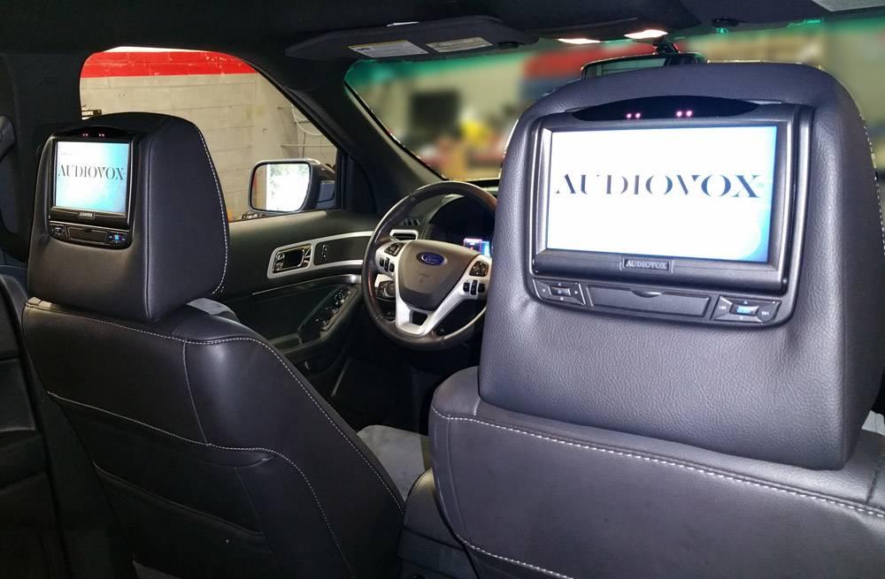 Custom Advent headrest DVD system in a 2014 Explorer