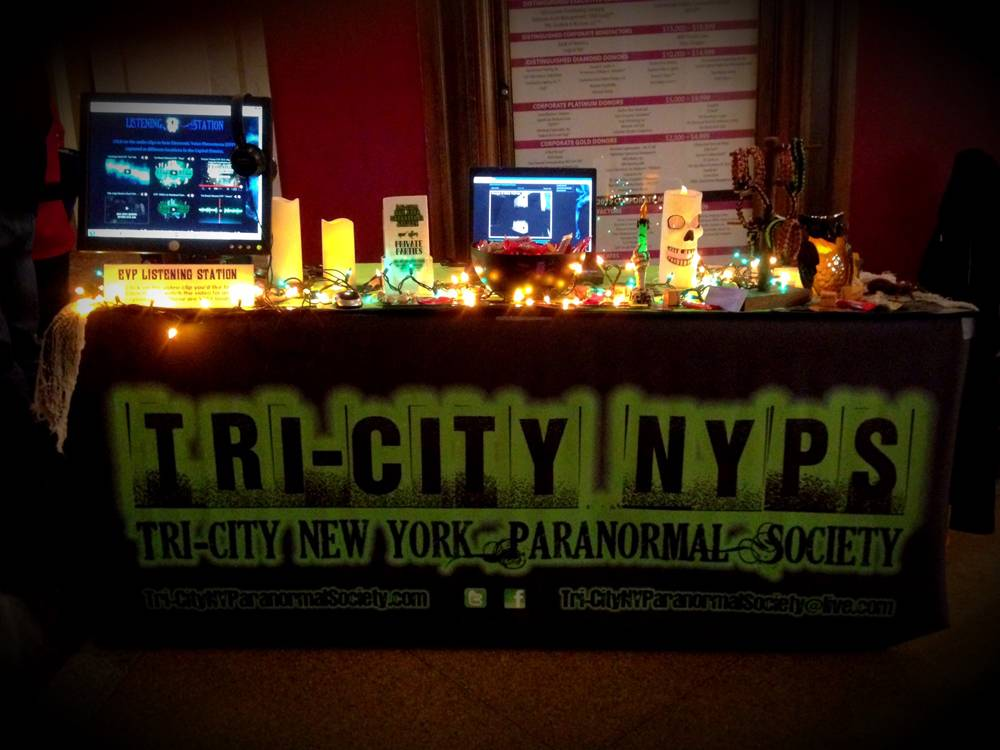 Our table at Proctors with the EVP listening station!