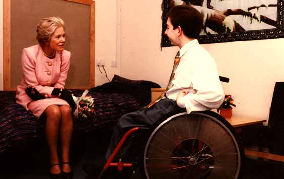 Duchess of Kent visits resident of Weaver House, Bedford YMCA