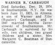 Carbaugh, Warner R. 1974