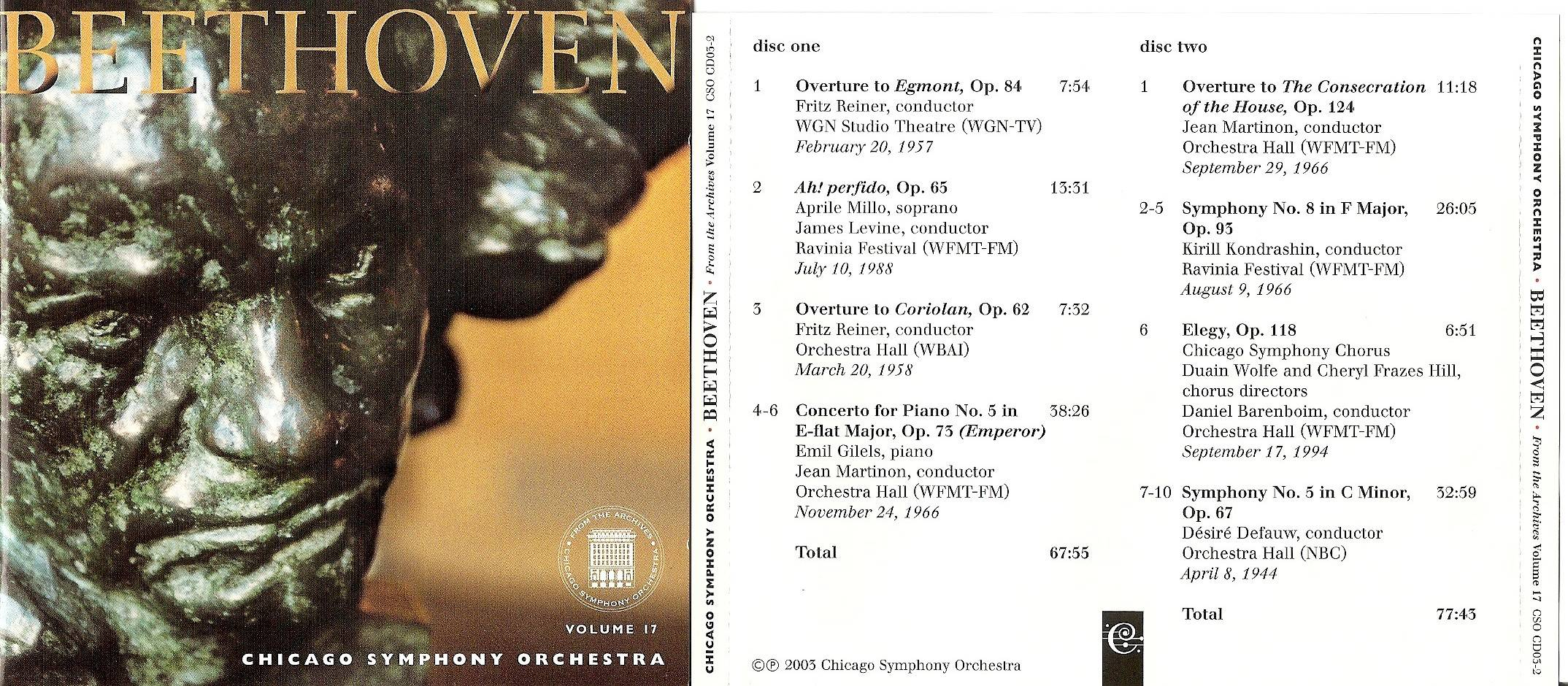 Chicago Symphony Orchestra - From The Archives, Vol.17: Beethoven, 2-CD set (2003)