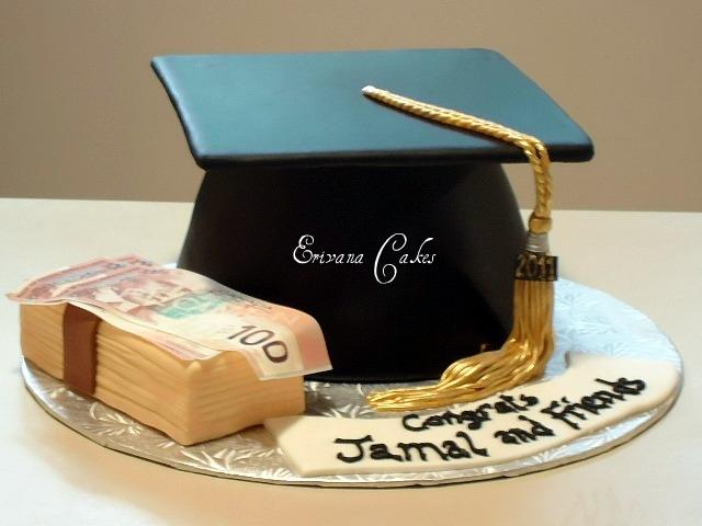 Graduation Cake with stacks of money cake(SP139)