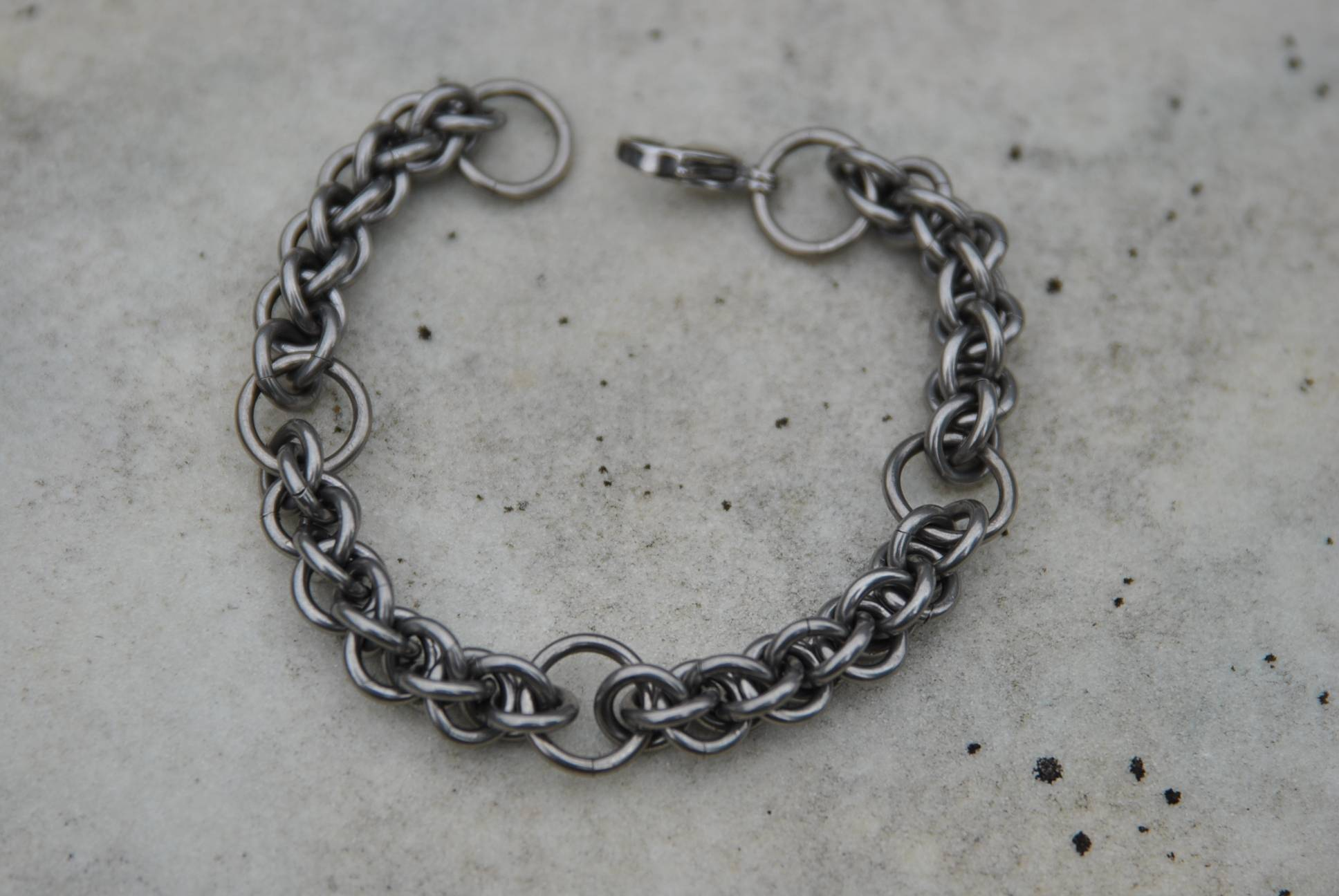 Steel segmented rope chain bracelet
