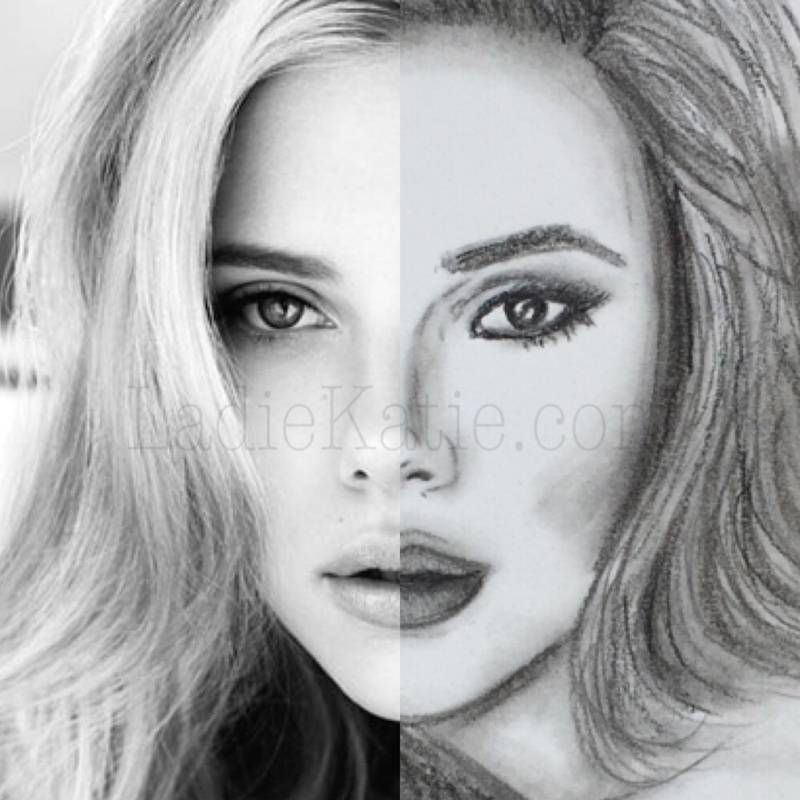Scarlett Johansson Charcoal Sketch and Photo Comparison