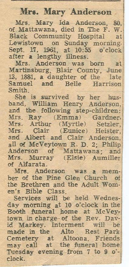 Anderson, Mary Ida Smith Smeltzer 1961