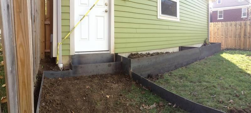 Custom Built Steel Planters & Walkway 2