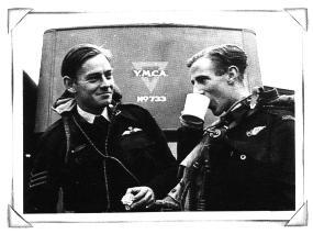 Two airmen enjoying a cuppa