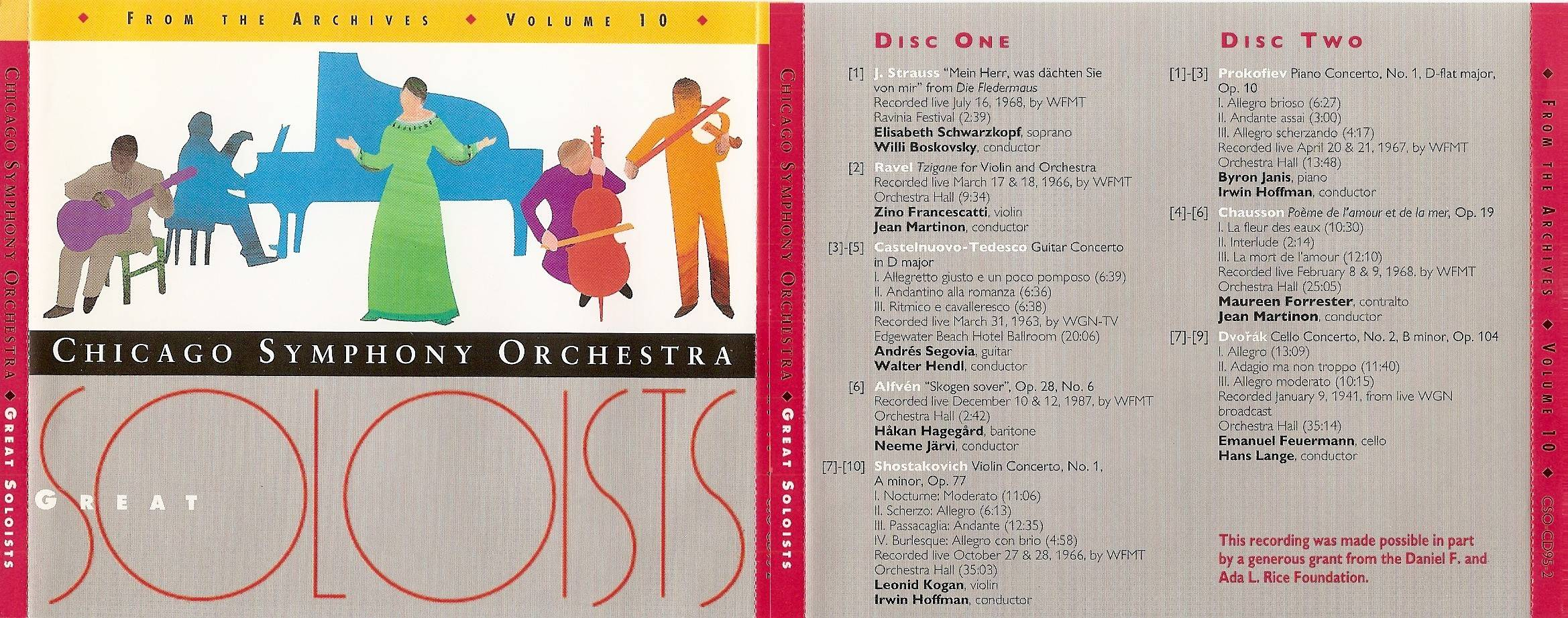 Chicago Symphony Orchestra - From The Archives, Vol.10: Great Soloists, 2-CD set (1995)