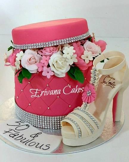 Flower Box cake 2 with gumpaste louboutin shoe