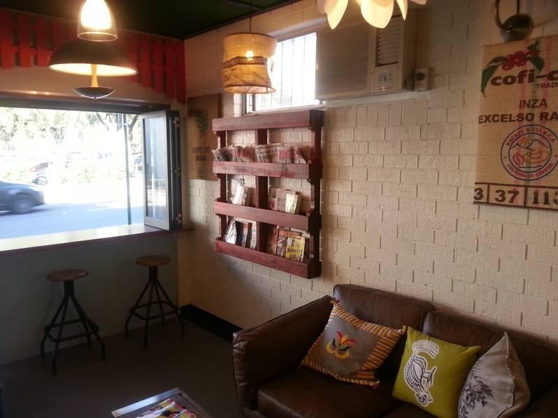 Wooden Magazine Rack for Cafe Shop.