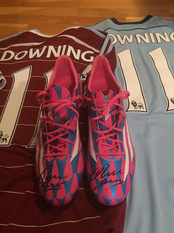 Stewert Downing´s worn, signed and personalised boots