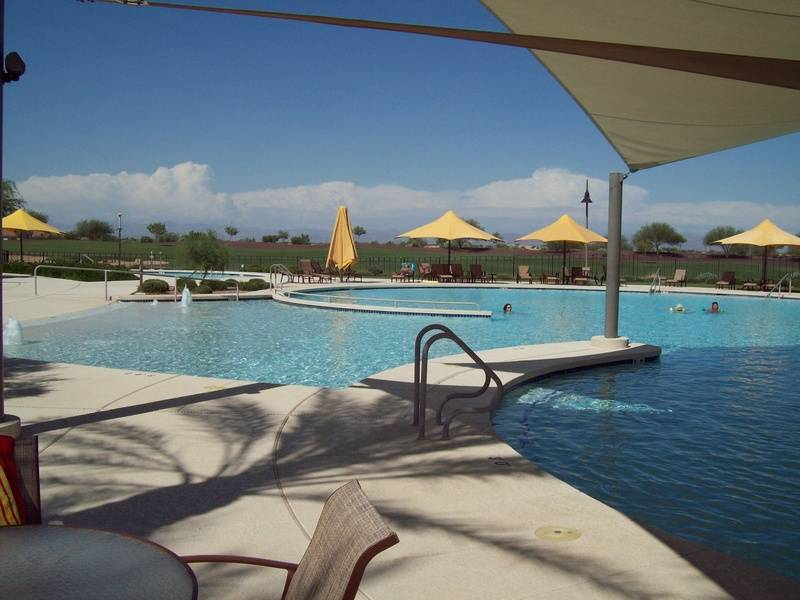 Outdoor pool with canopy