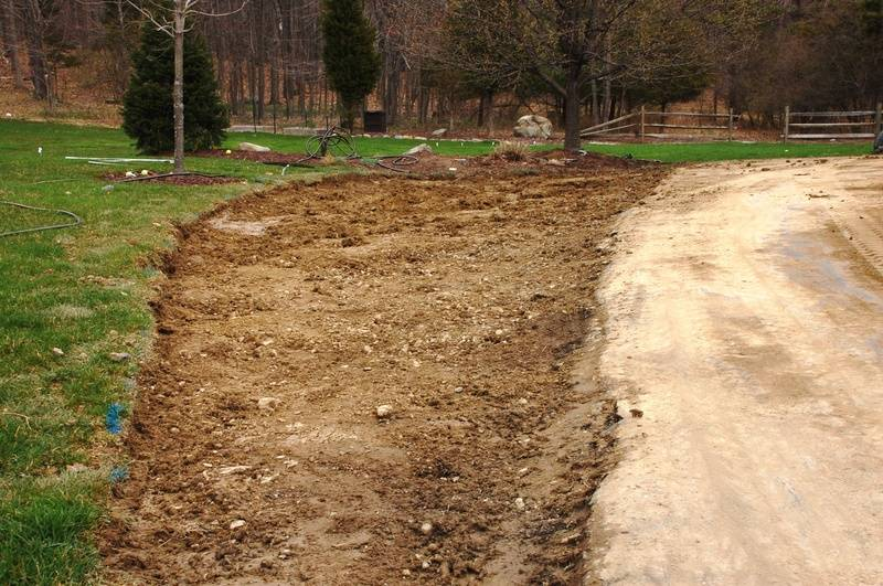 Grass and dirt removed and ready for stone