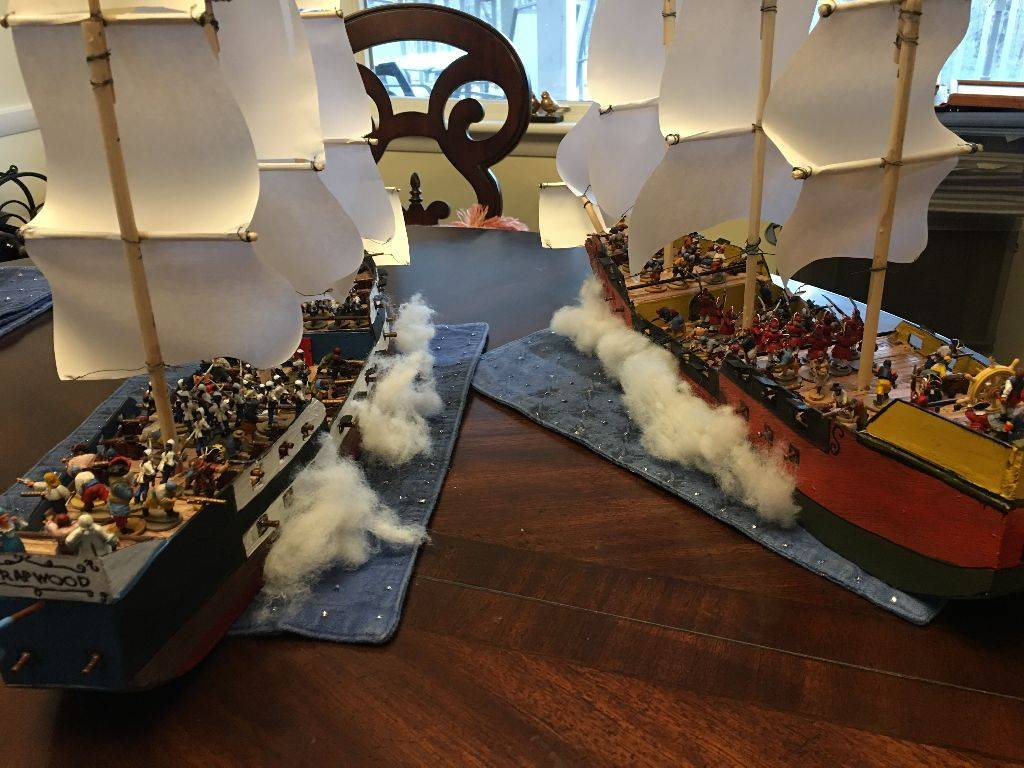 French and British ships trade broadsides
