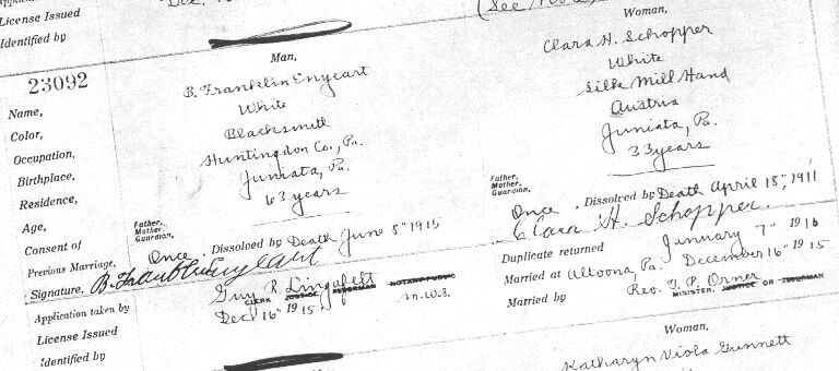 Marriage License for B. Franklin Enyeart and Clara H. Schopper