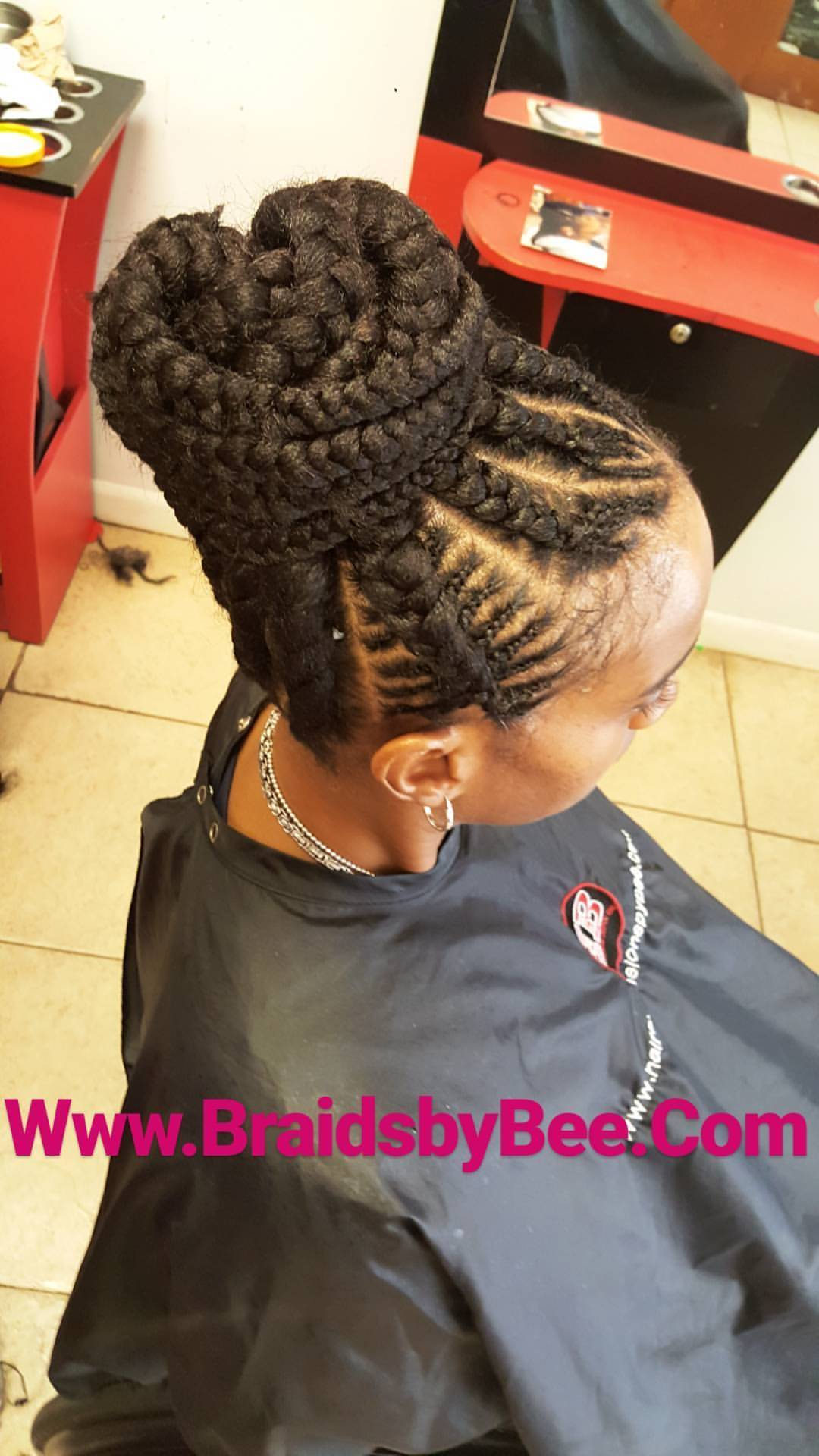 GHANA BRAIDS GOING INTO PONYTAIL
