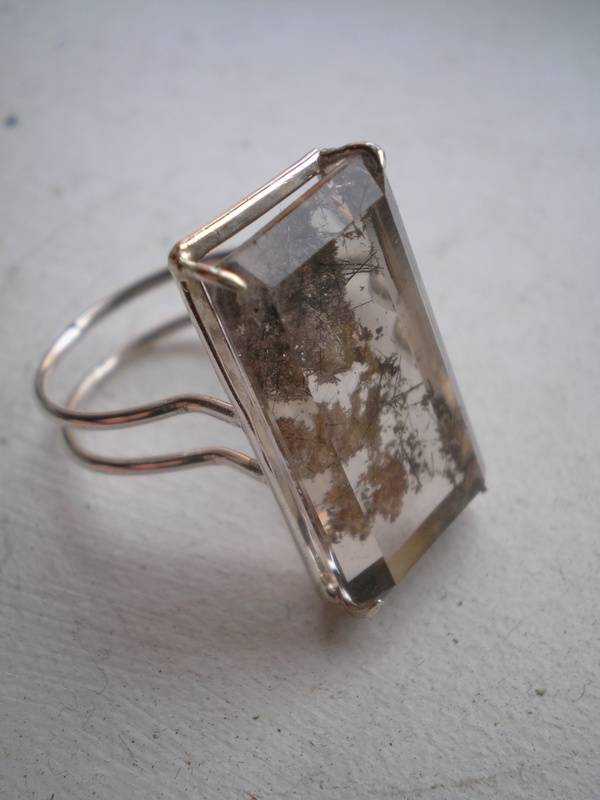 Sterling ring with Rultilated Quartz