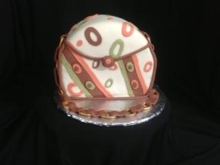 Brown/coral/avocado cake