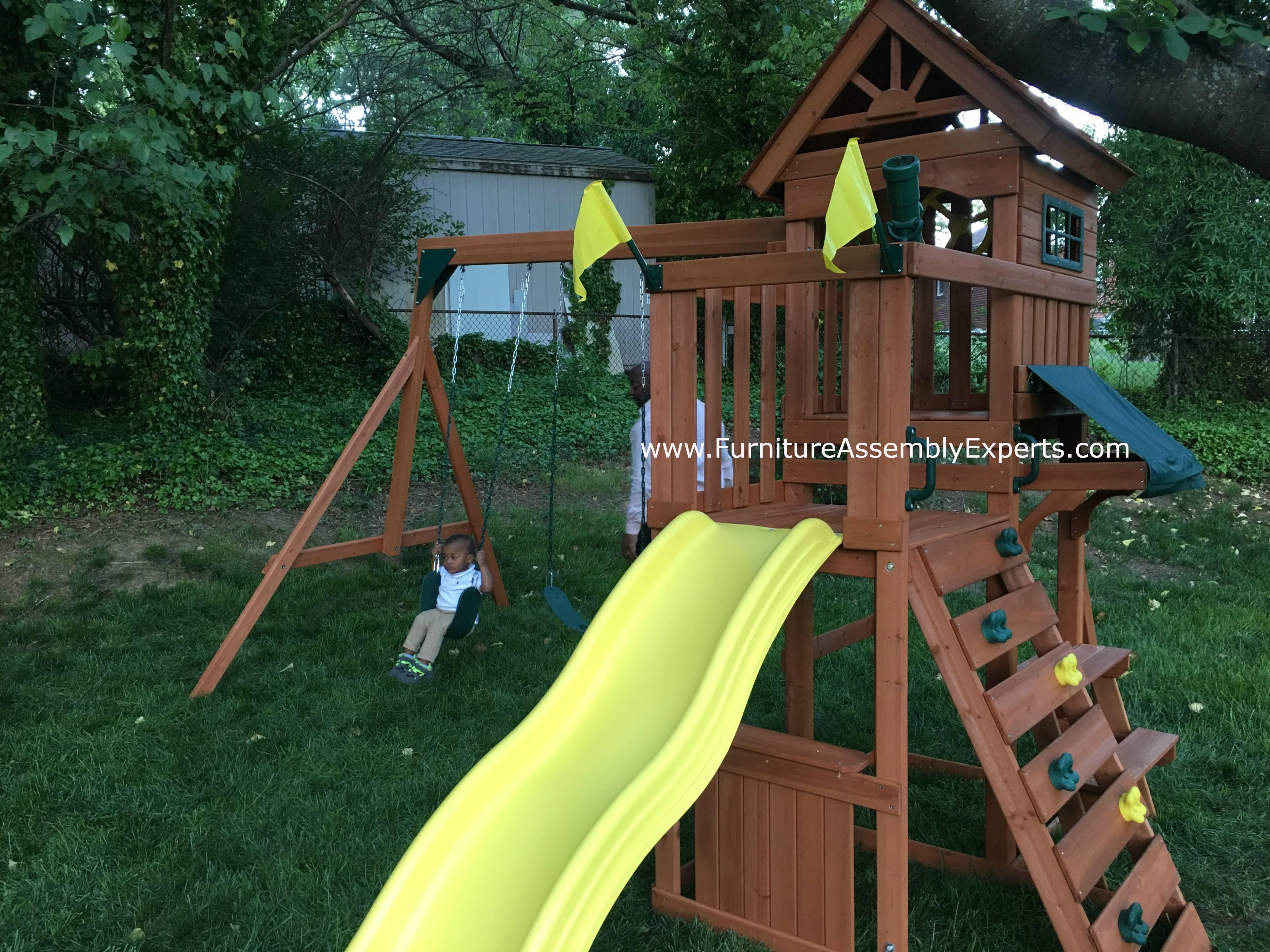 Swing n slide swing set installation in Maryland