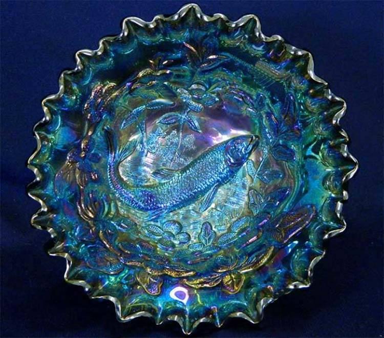 Big Fish deep crimped bowl, green radium