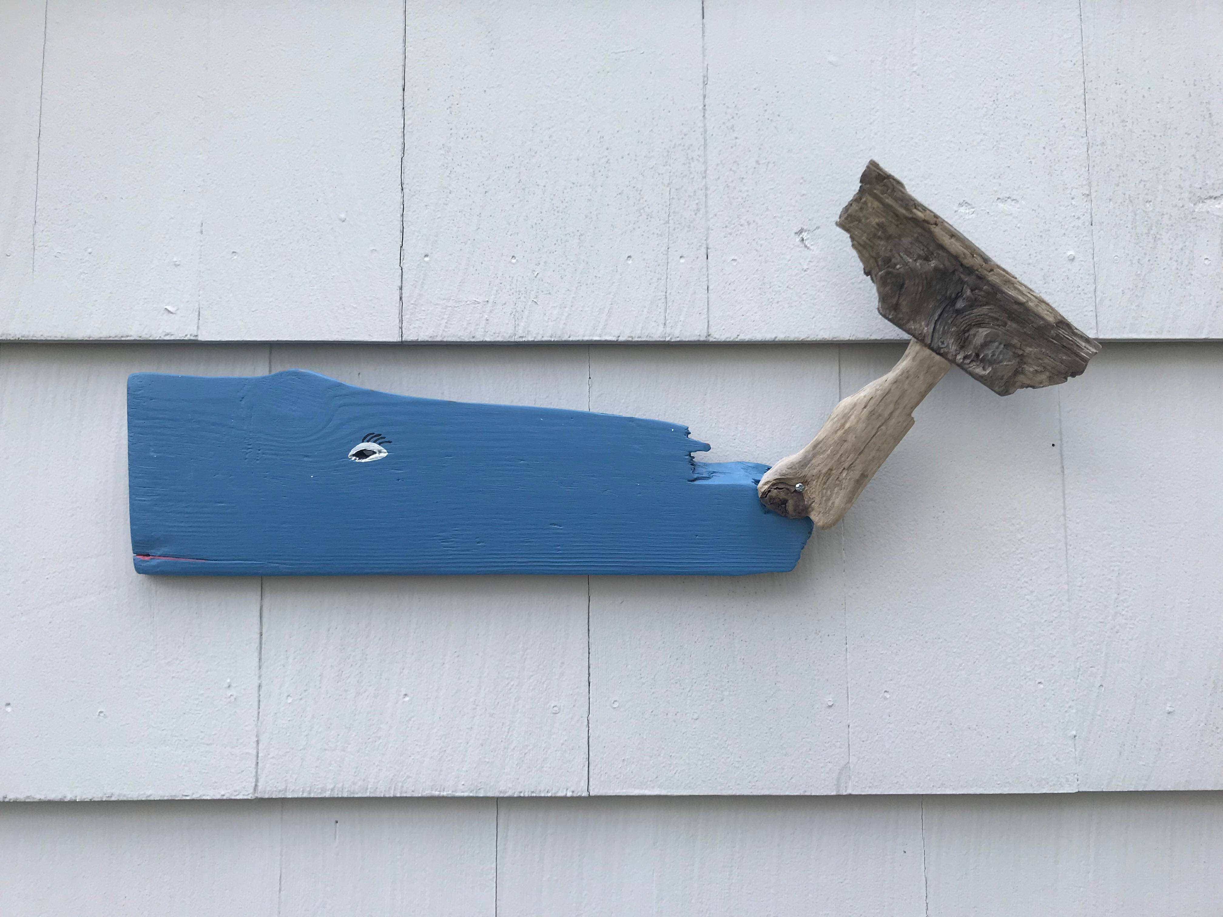 Blue Driftwood Whale w/ natural wood tail