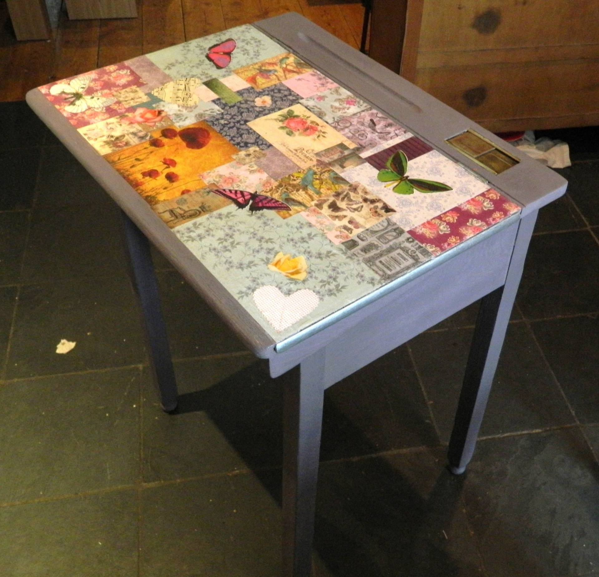 Painted and decoupaged desk