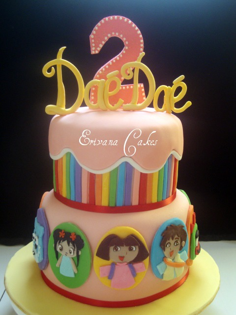 Rainbow Cake with Treehouse Characters (B001)