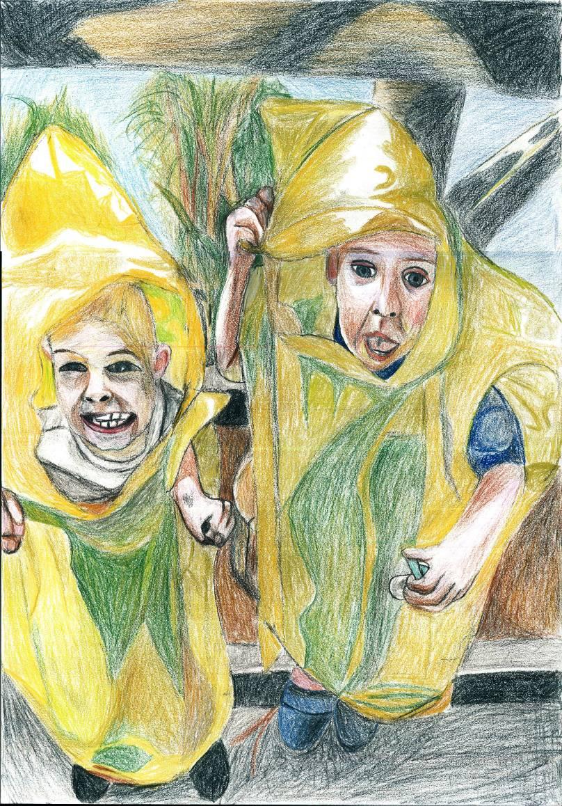 J&F coloured pencil drawing