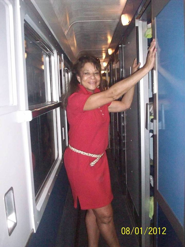 Miss Judy on the train from Paris to Nice!