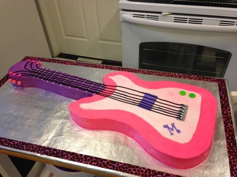Pink Guitar Cake with Monogram