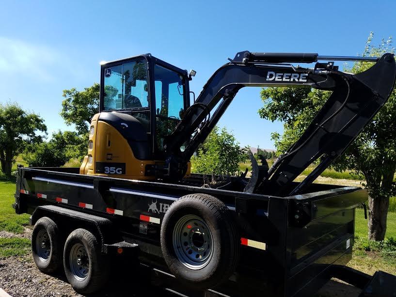 excavator and Dump trailer