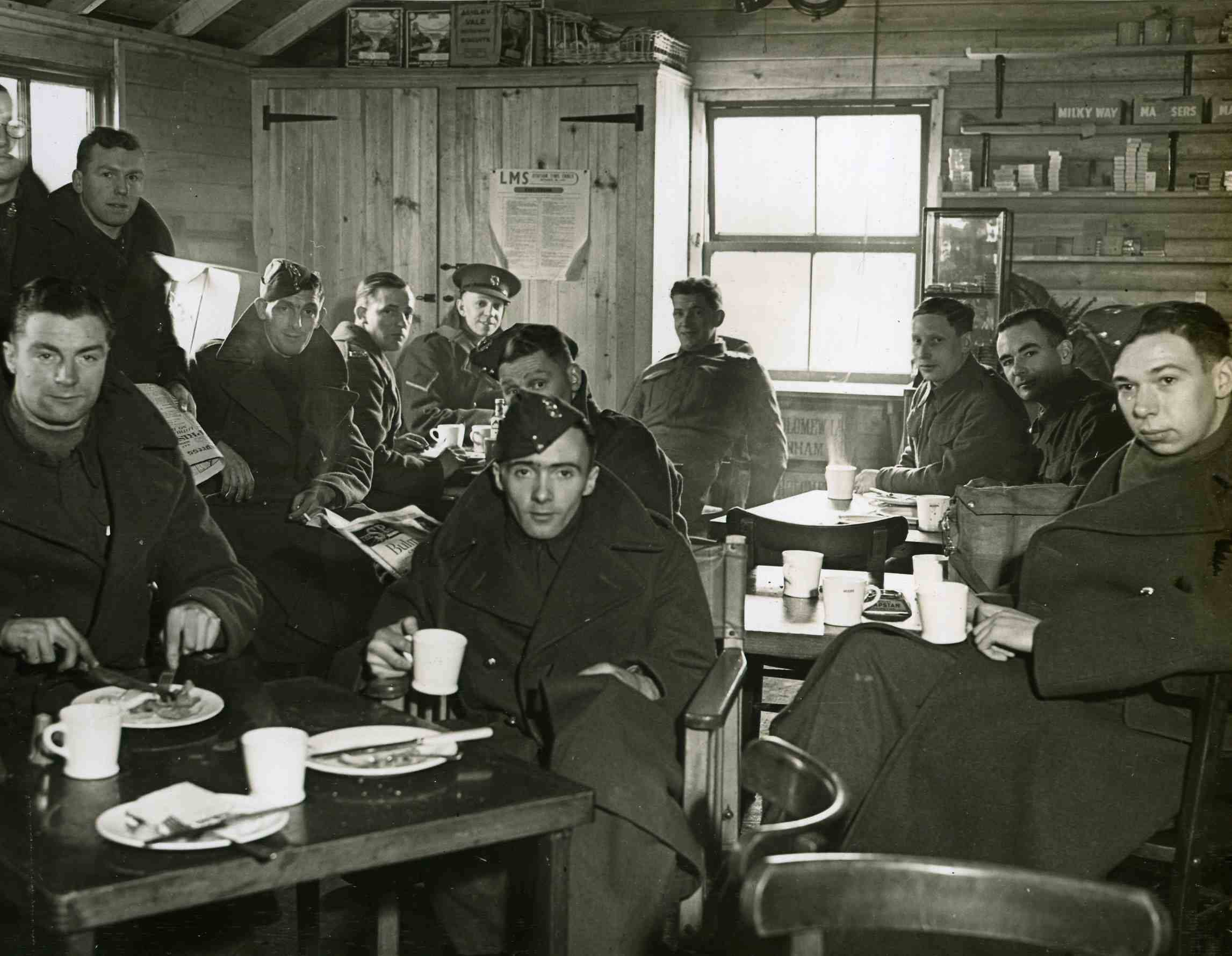 soldiers relaxing in YMCA canteen