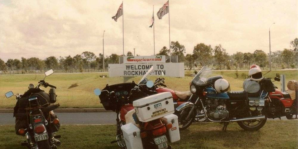 Our Bikes at the roundabout Southern Entrance to Rockhampton