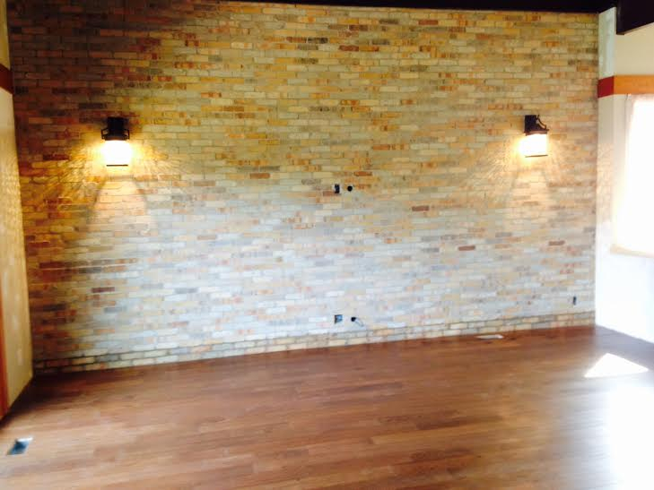 Veneer brick and floor installation