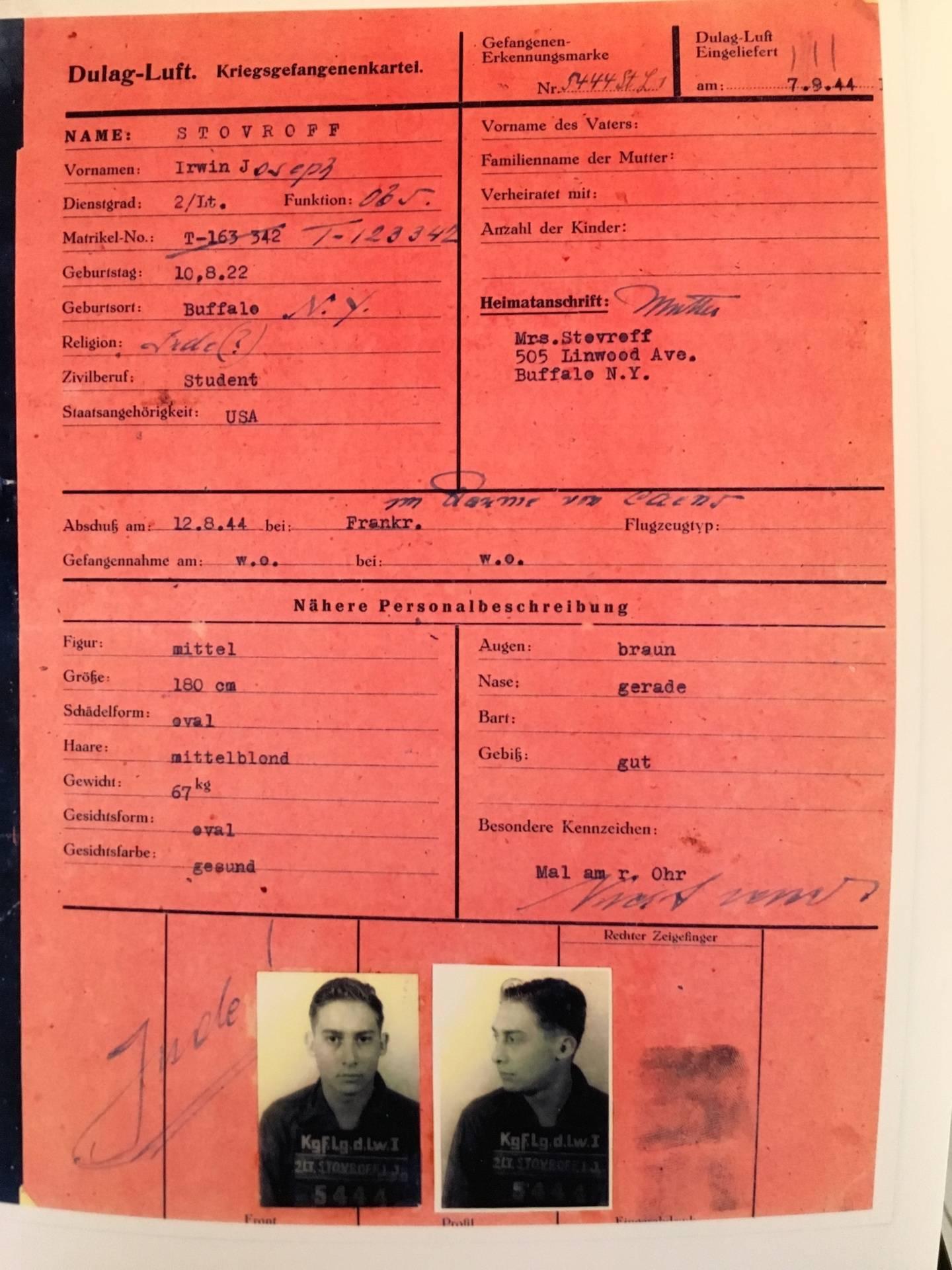 Irwin Stovroff's interrogation record