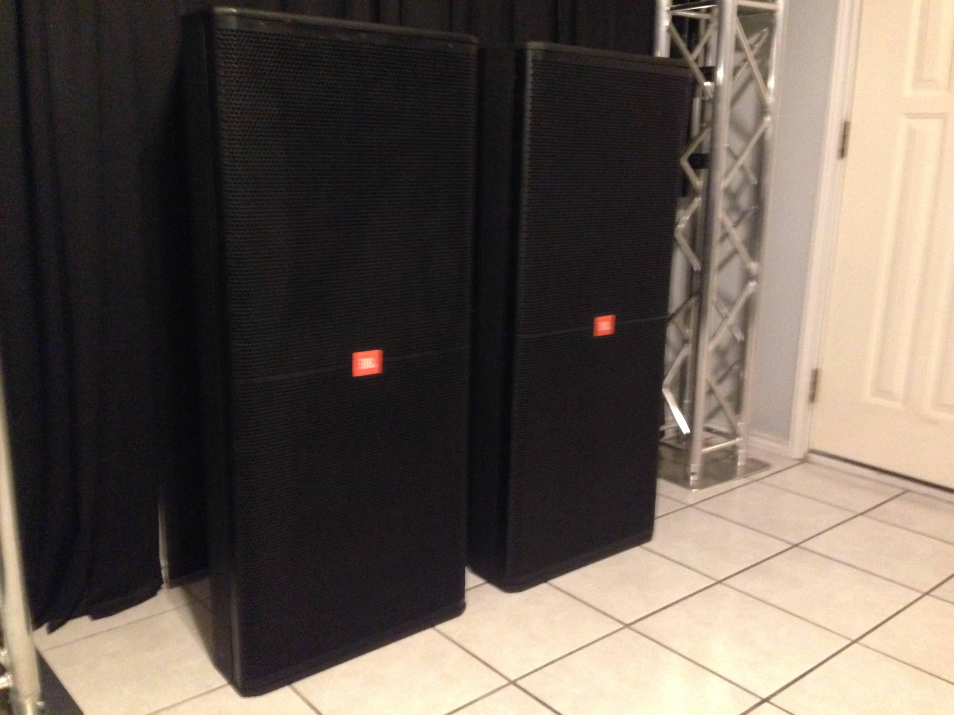 JBL SRX 725's 4 available as well as SRX 728's