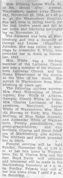 White, Minerva Johnson 1954