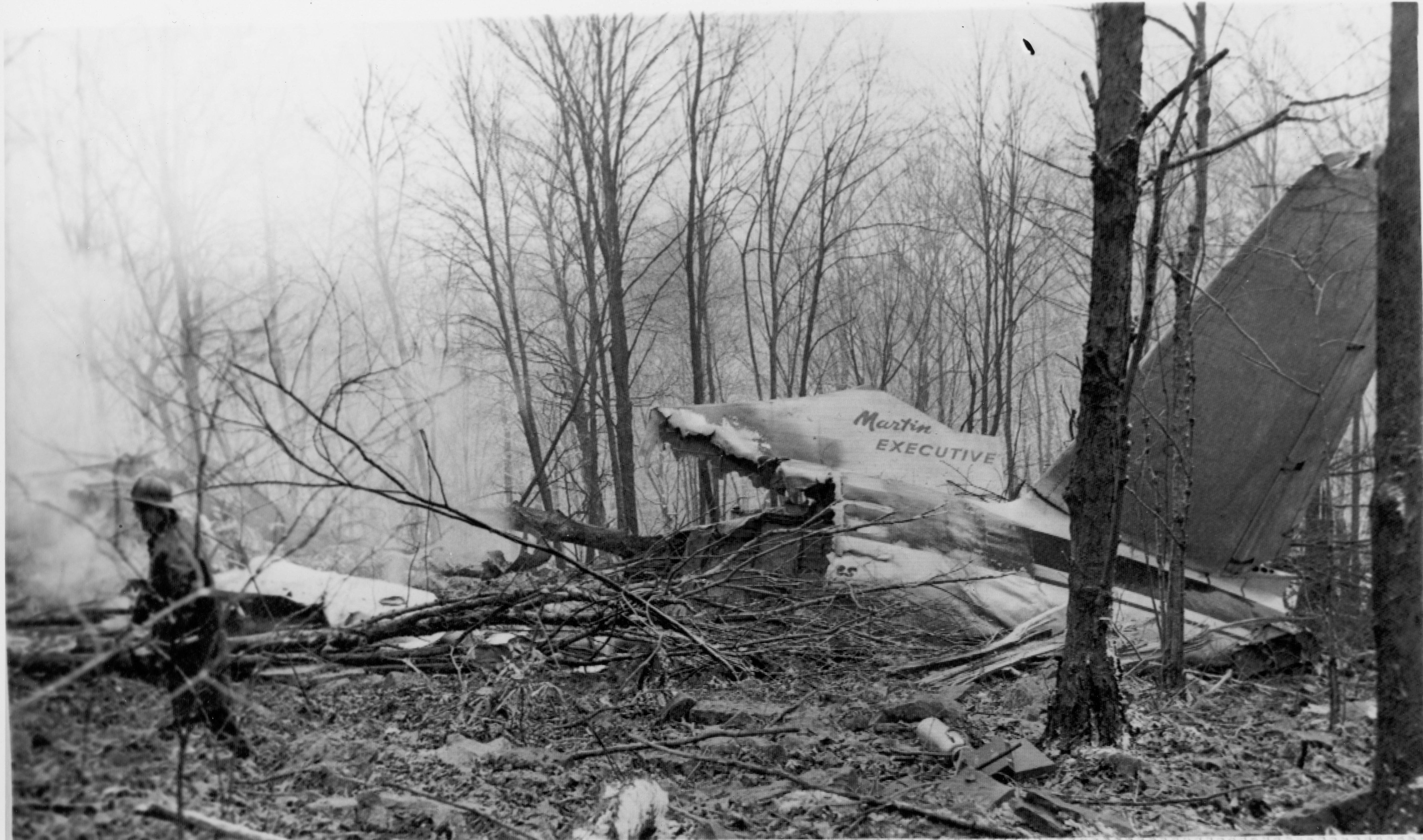 Smoldering tail section. Photo courtesy of the Williamsport Sun Gazette archive.