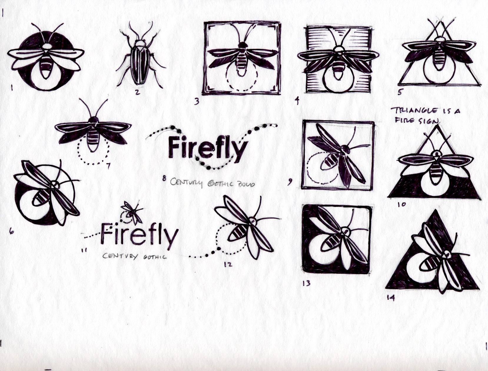 Firefly logo sketches