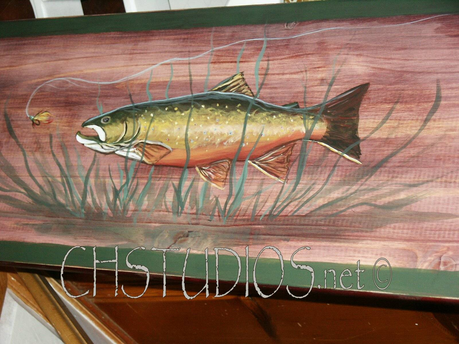 Rainbow Trout & Fly Fishing Trompe L'oeil Bench