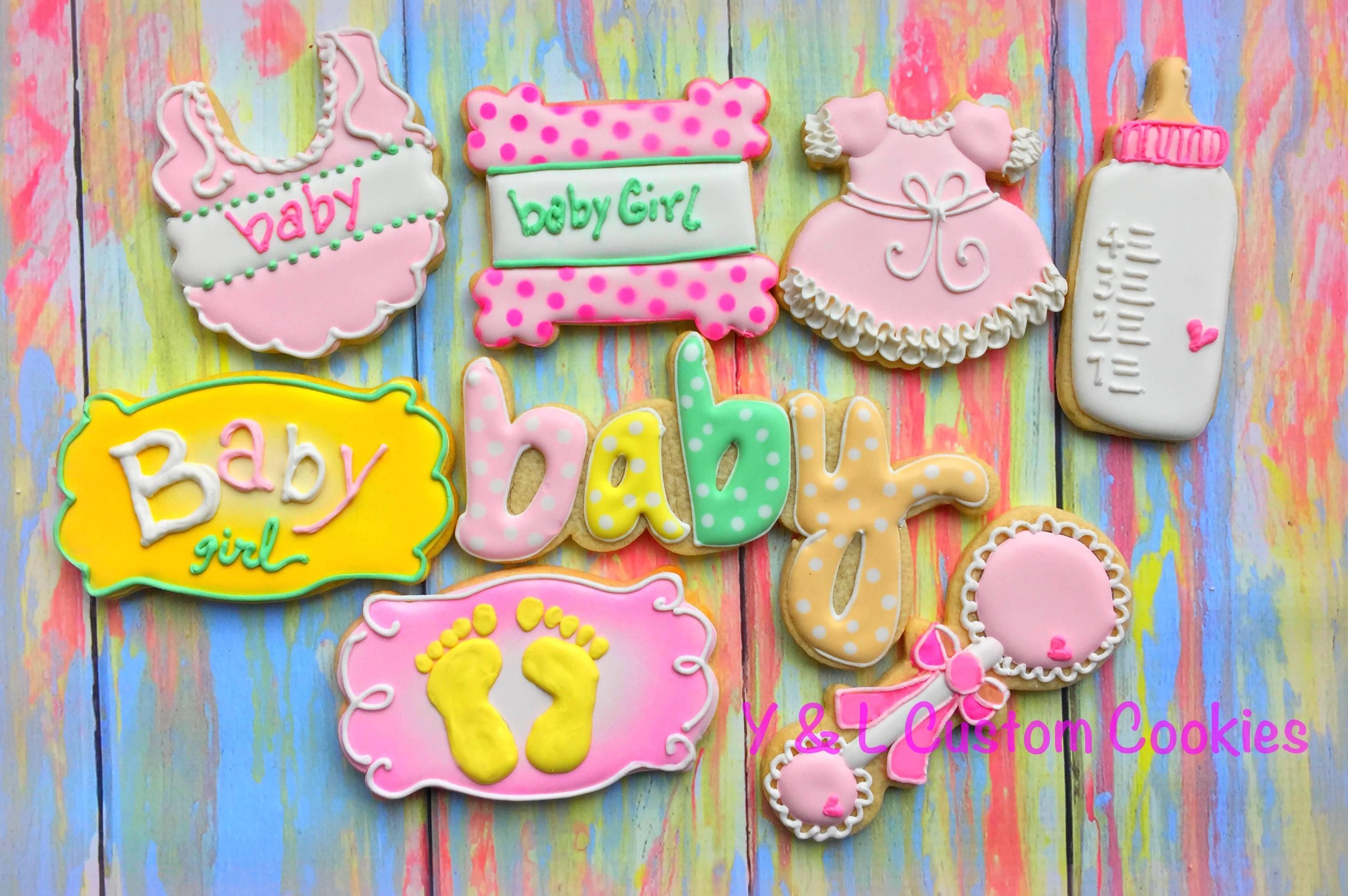 Girl Baby Shower Custom Cookies