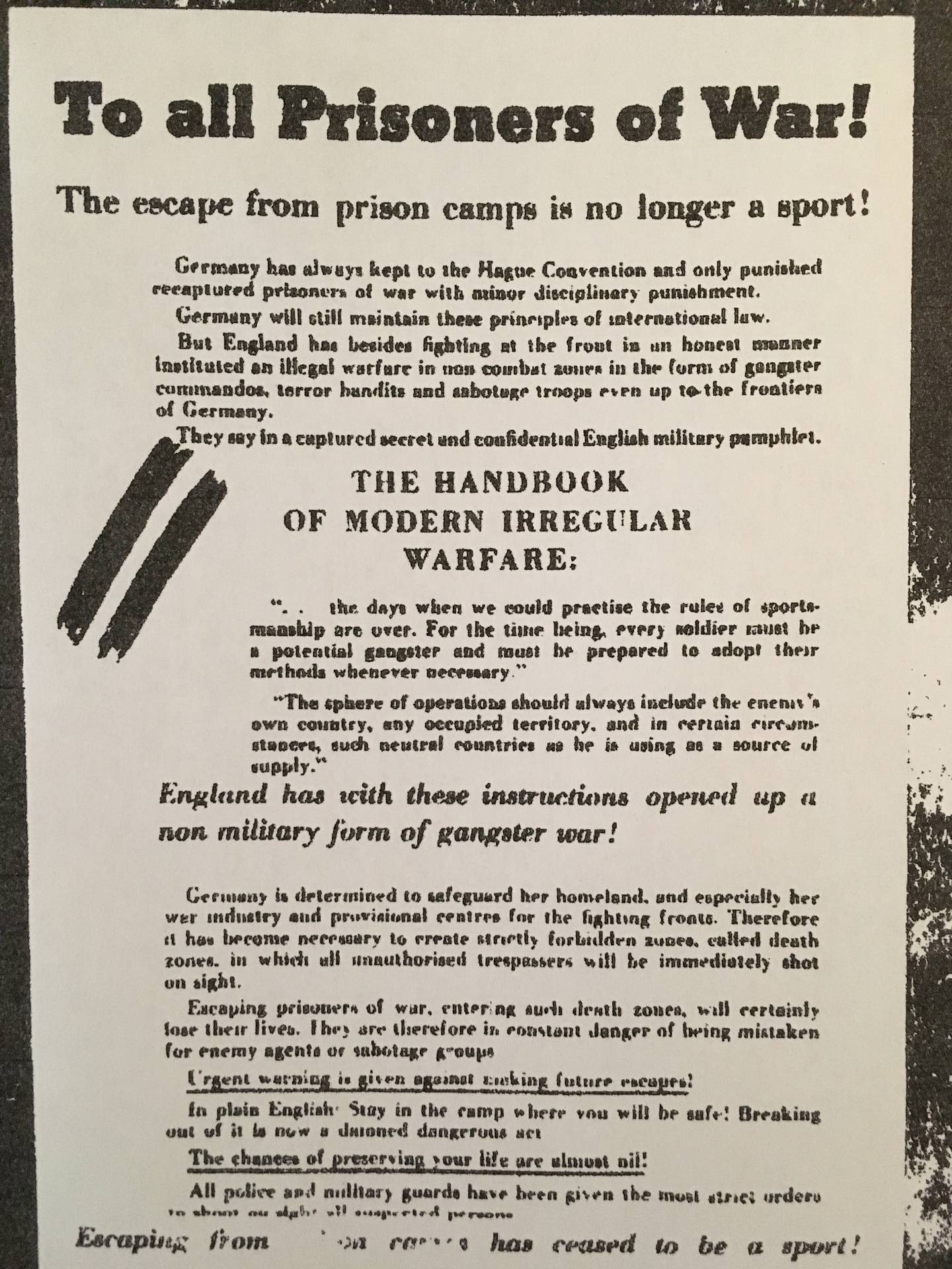 Leaflet to POW's in the camp