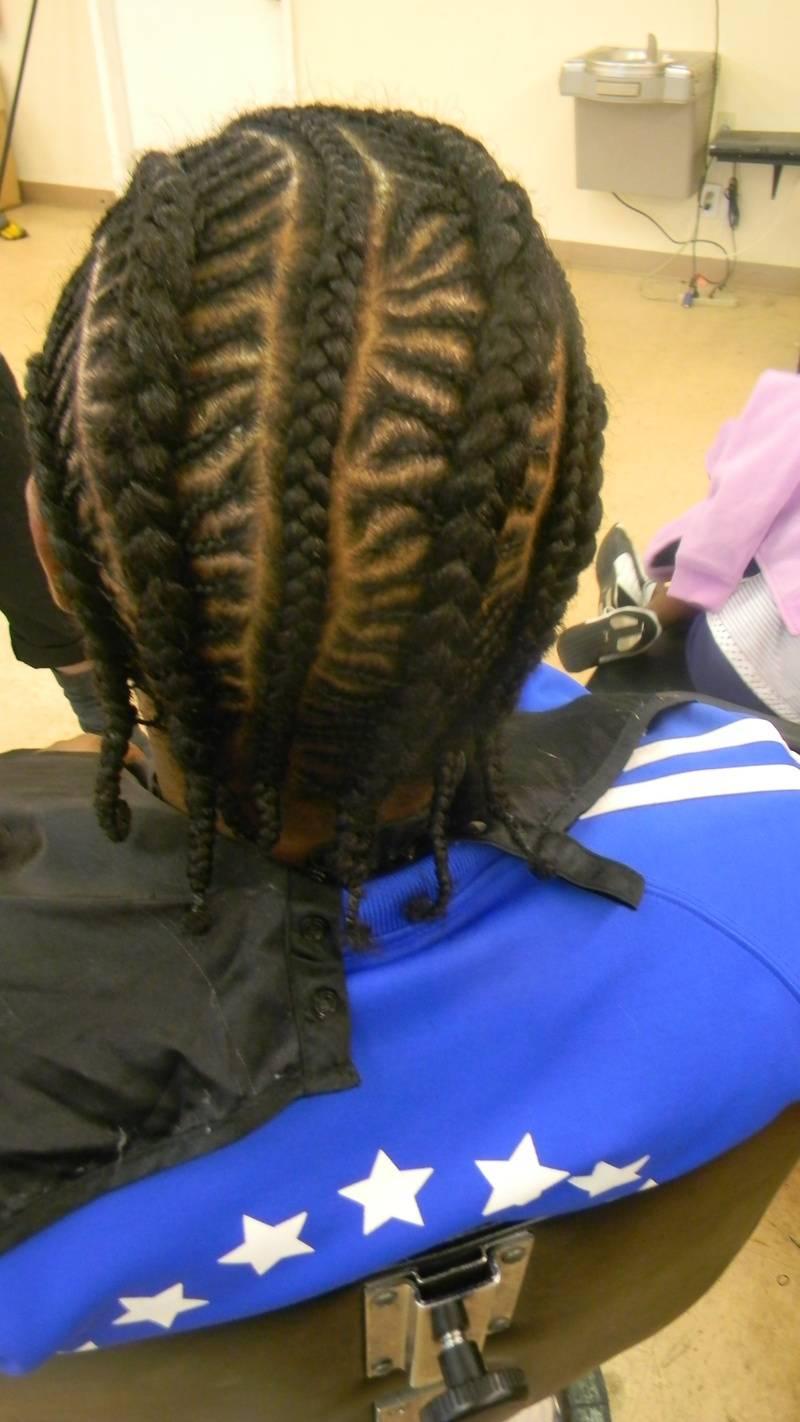 Fishbone design corn row braids
